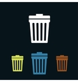 Trash can flat icons vector image
