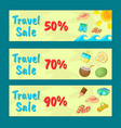 travel sale concept banner set cartoon style vector image vector image