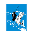 trout fish jumping reeled fly fisherman vector image vector image