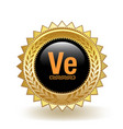 veritaseum cryptocurrency coin gold badge vector image vector image