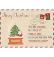 Vintage Christmas Postcard with Stamp and Postmark vector image vector image