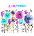 Watercolor floral composition Romantic card of vector image vector image