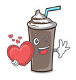 with heart ice chocolate mascot cartoon vector image vector image