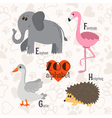 Zoo alphabet with funny animals E f g h letters vector image vector image