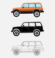 different kind off-road vehicle on a white vector image