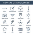 16 drawing icons vector image vector image