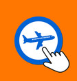 airplane icon traveling concept hand mouse cursor vector image vector image