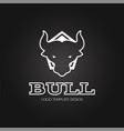 angry bull logo template line design vector image