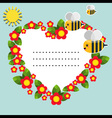 Background with flowers bees and sun vector image vector image