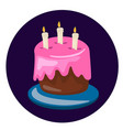 birthday cake sweet cream pie with candles vector image vector image