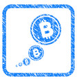 bitcoin inflation framed stamp vector image vector image