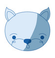 blue color shading silhouette cute face of kitten vector image vector image