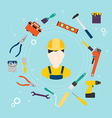 Builder and color tools for repair and home vector image