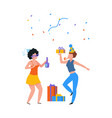 cartoon party people with gifts and drinks happy vector image