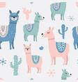 childish seamless pattern with cute llama vector image