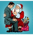 Christmas gift Santa Claus and businessman vector image