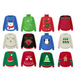 christmas sweaters funny ugly clothes vector image vector image