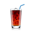 Cola glass with ice cubes isolated on white vector image