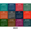 colorful calendar for 2021 year week starts vector image vector image