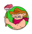 cowboy hog holding barbecue steak drawing color vector image