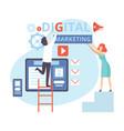 digital marketing people working on business vector image vector image