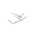 drawn female and a male person holding hands vector image vector image