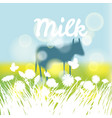 farm landscape with cows cow on meadow grass and vector image vector image
