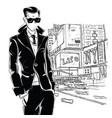fashion man in sketch-style in new york vector image