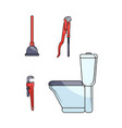 flat plumbing tools equipment set vector image vector image