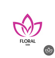 floral logo with three leaves linear smooth vector image vector image