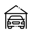 garage shed with car vehicle thin line icon vector image