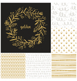 Golden floral wreath and seamless patterns vector image vector image