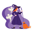 halloween costume witch and ghosts holiday vector image