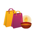 happy diwali candle with shopping bag vector image vector image