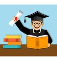 Happy graduate with diploma vector image vector image