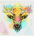 Hipster animal deer on artistic polygon