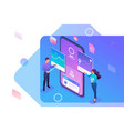isometric young people stand near mobile phone vector image
