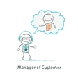 Manager of Customer talking on headphones with the vector image vector image