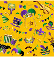 mardi gras seamless pattern template with golden vector image