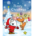 Merry Christmas greeting card funny santa claus vector image