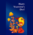 paperart valentine day with chicken vector image