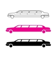 Pink limousine graphic icon sign vector image vector image