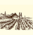 retro landscapes farm house vector image