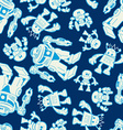 Robot force seamless pattern on a navy background vector image vector image
