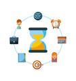 sand clock diary calendar atrget people business vector image vector image