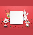 santa claus and friend with blank labels vector image vector image