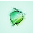sphere of particles wireframe and splashes vector image