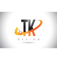 tk t k letter logo with fire flames design and vector image vector image