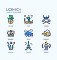 travel - modern flat line design icons set vector image vector image