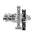 what is private mortgage insurance text word vector image vector image